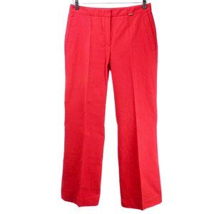ESCADA Cherry Red Tonal Stripe Boot Cut Trousers